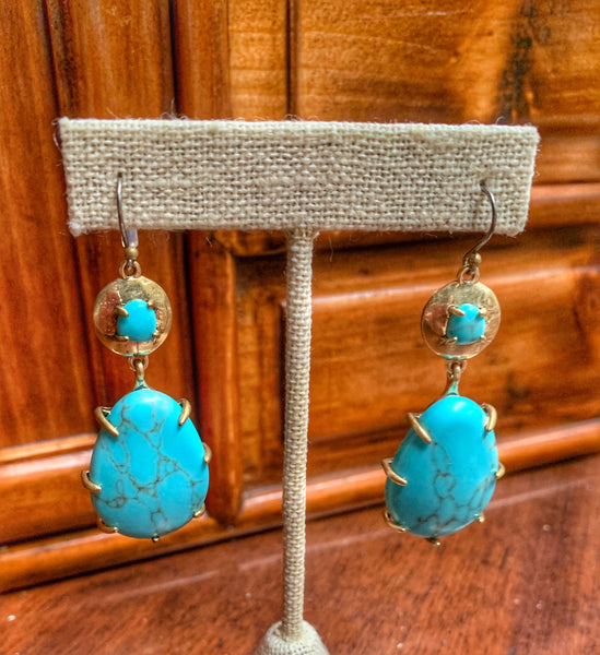 Turquoise and Brass Drop Statement Earrings