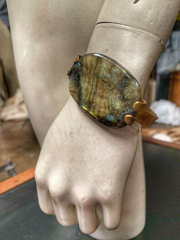 Natural Labradorite Bangle Bracelet