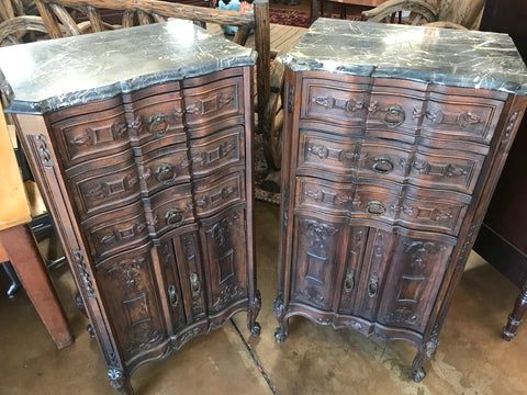 Pair of 1900's Italian Marble Top Cammodes