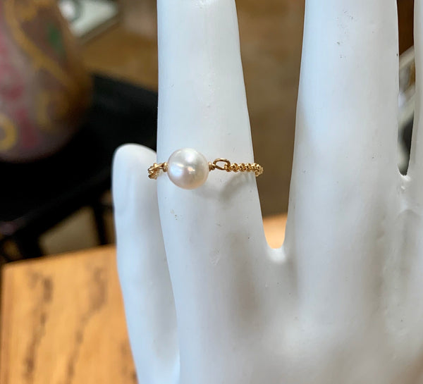Dainty Freshwater Pearl Chain Ring