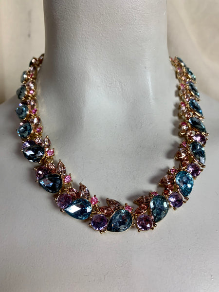 Vintage Style Pink and Blue Collar Necklace