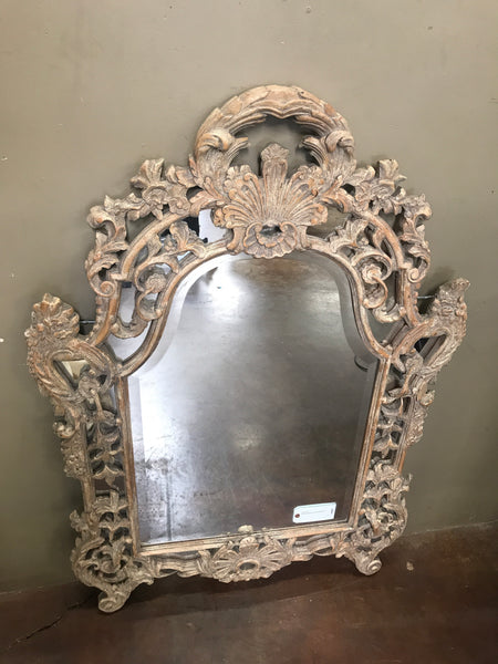 Large carved wood white washed mirror
