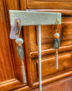 Linear Pearl Labradorite and Crystal Earrings