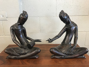 Pair of carved wood Thai figures