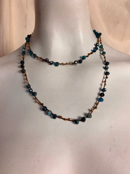 Blue Apatite and Bronze Bead Necklace on Knotted Silk Cord