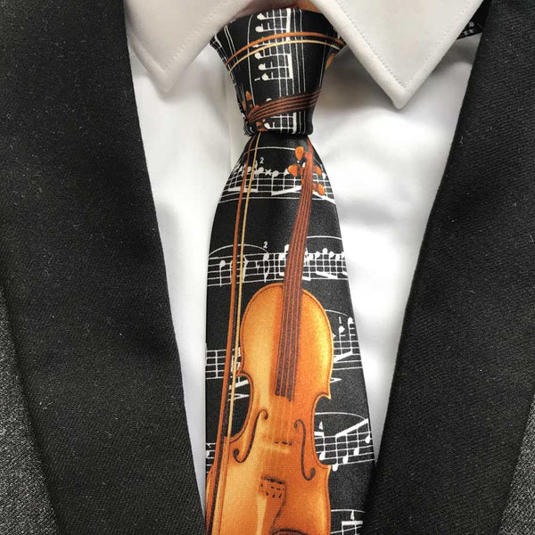 Stringed Instrument Pattern Tie - This Tie is as Unique as You Are