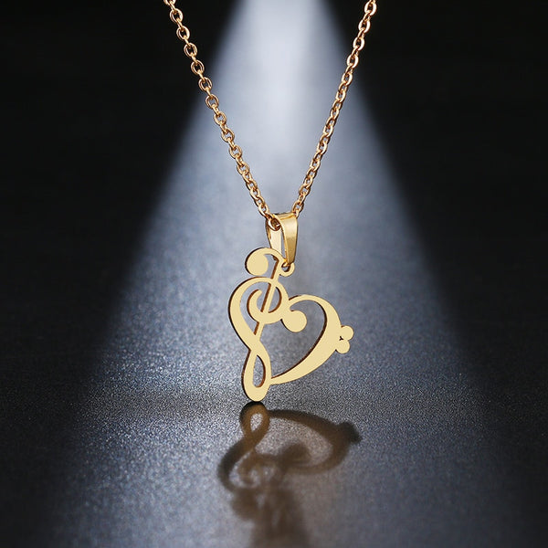 Heart Of Treble And Bass Pendant Necklace