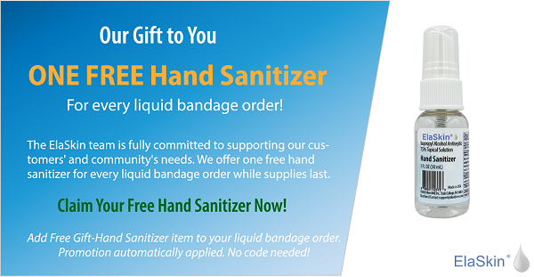 Free Hand Sanitizer for Every ElaSkin Liquid Bandage Order