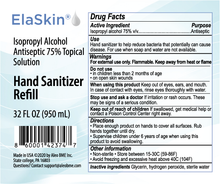 Load image into Gallery viewer, Elaskin® IPA Antiseptic 75% Topical Solution, Hand Sanitizer, 32 oz Refill Bottle