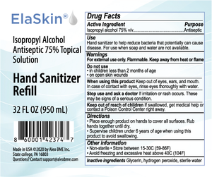 Elaskin® IPA Antiseptic 75% Topical Solution, Hand Sanitizer, 32 oz Refill Bottle