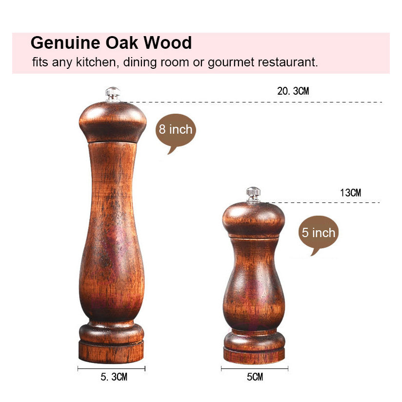Oak Wood Salt and Pepper Mills