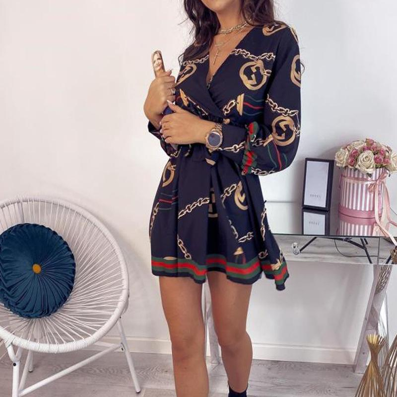 New V-neck cardigan printed bouquet with dress casual skirt-🔥Buy 2 Get 20% Off