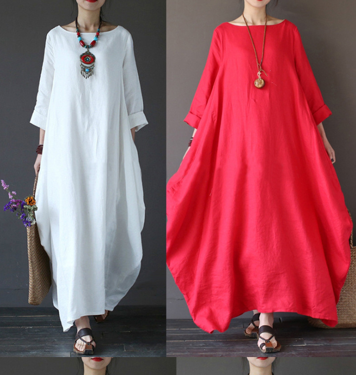 Women Vintage Women 3/4 Sleeve Solid Loose Maxi Dress🔥Buy 2 Get 20% Off