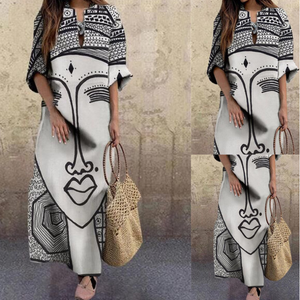 Fashion face print plus size dress