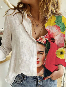 Frida Kahlo printed cotton and linen relaxed shirt
