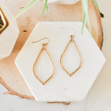 Load image into Gallery viewer, Gold Hammered Hollow Drop Earrings