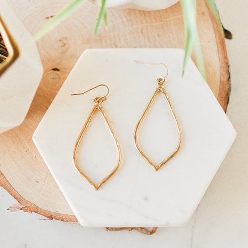 Gold Hammered Hollow Drop Earrings