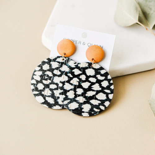 Spotted Black Cork Haven Earrings