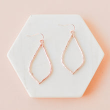 Load image into Gallery viewer, Rose Gold Hammered Hollow Drop Earrings