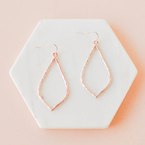 Rose Gold Hammered Hollow Drop Earrings