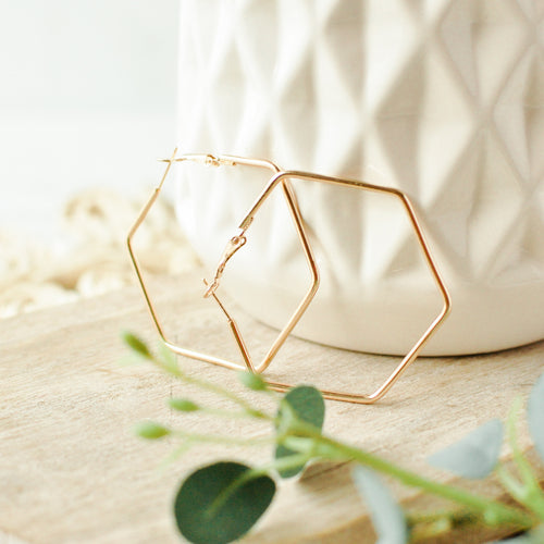 Gold Geometric Reese Hoop Earrings