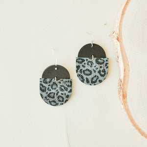 Black Cheetah & Walnut Saddie Earrings