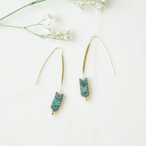 Malta Wishbone Patina Green Earrings