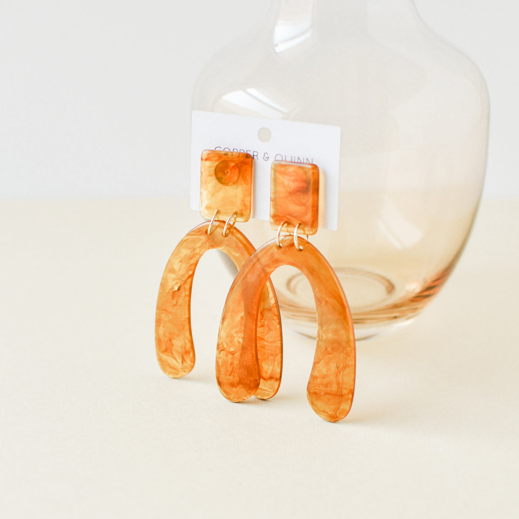 Amber Wishbone Earrings