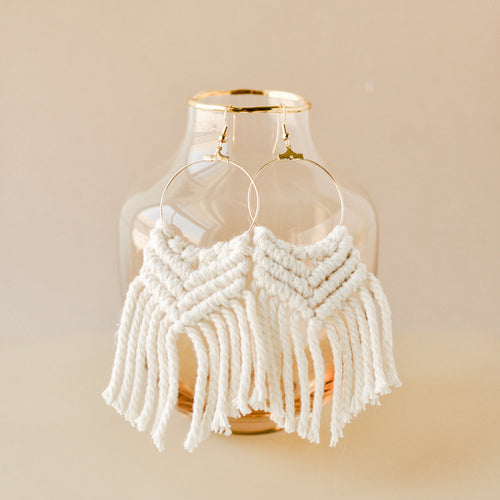 Ivory Macramé Fringe Earrings