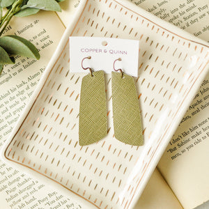 Olive Saffiano Aria Earrings