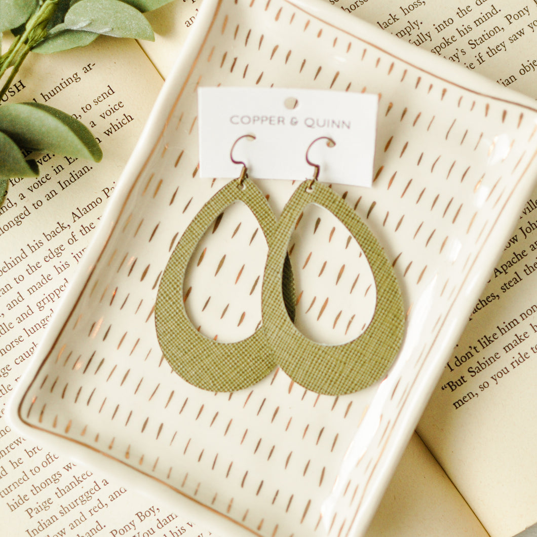Olive Saffiano Ivy Earrings