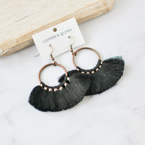 Black Tassel Tuscany Earrings
