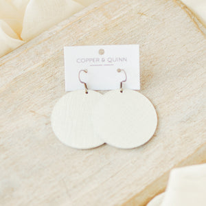Eggshell Saffiano Avery Earrings