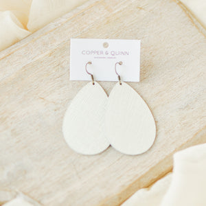 Eggshell Saffiano Kinglsey Earrings