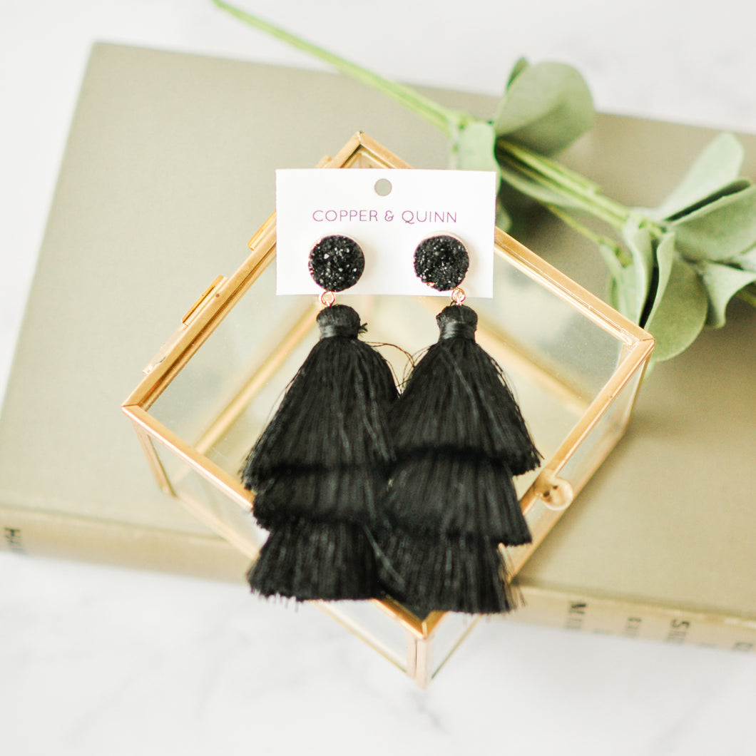 Black Druzy Tassel Earrings