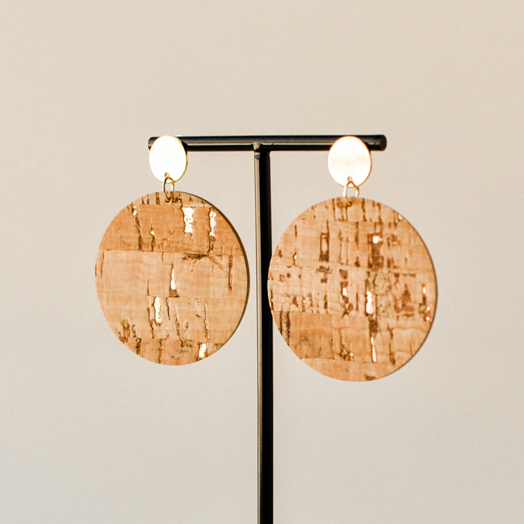 Natural Cork & Gold Haven Earrings