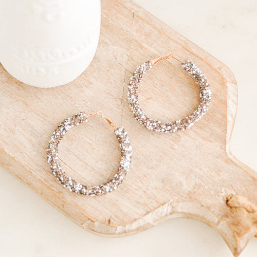 Silver Stella Glitter Hoop Earrings