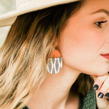 Load image into Gallery viewer, Chevron & Walnut Saddie Earrings
