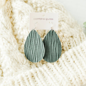 Dark Teal Palm Leaf Kingsley Earrings