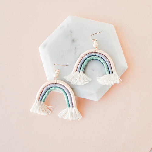 Rainbow Woven Arch Earrings