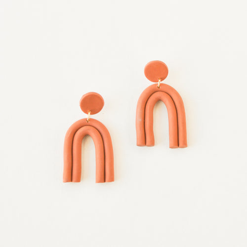 Terracotta Double Arch Clay Earrings