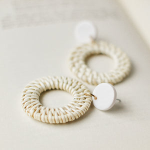 White Wicker Hollow Disc Earrings