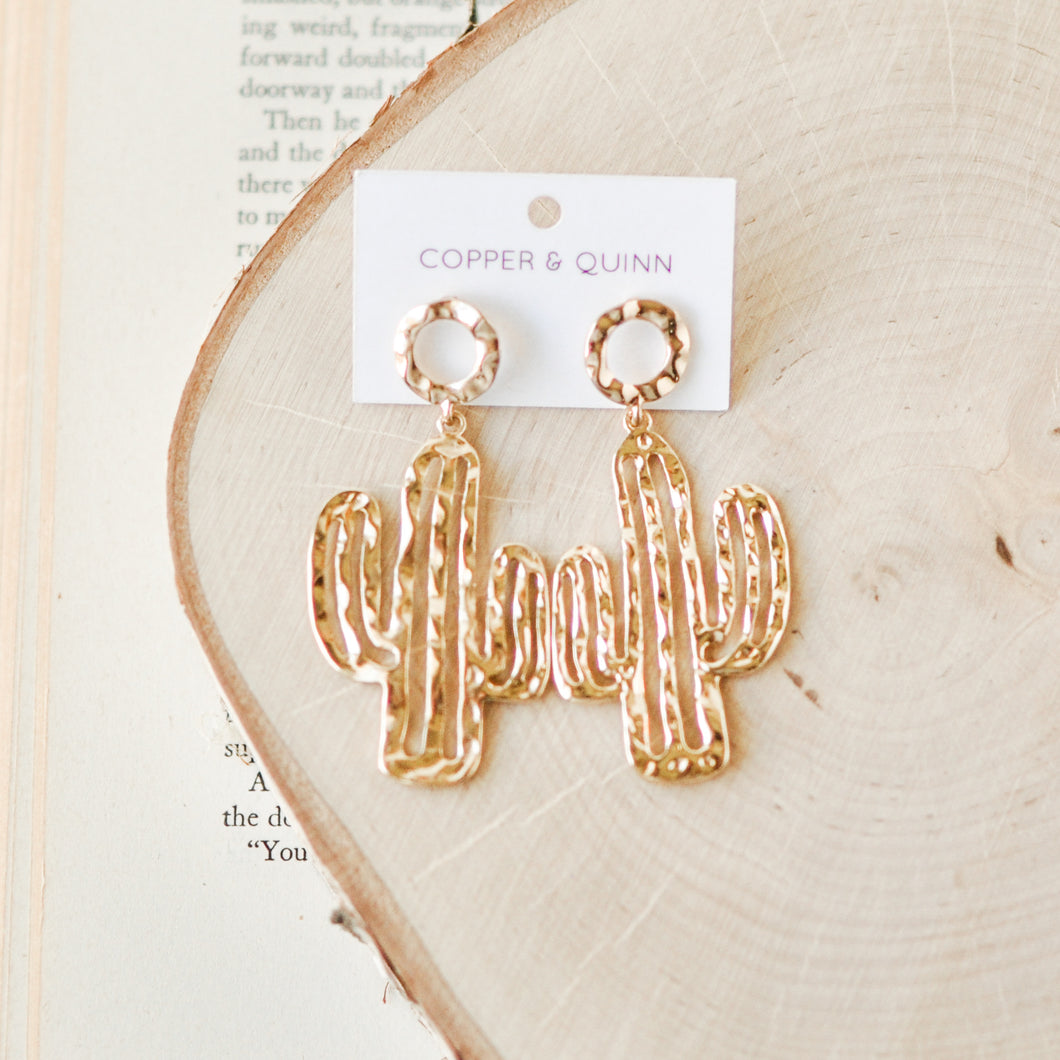 Hammered Gold Cactus Earrings