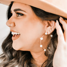Load image into Gallery viewer, Studded Pearl Hoop Earrings