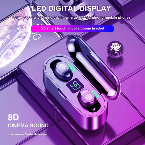 NEW UPGRADED SMART TOUCH 8D STEREO WATERPROOF WIRELESS EARPHONE WITH LED POWER DISPLAY-KIKIBOOM