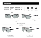 Men's Photochromic Sunglasses with Polarized Lens for Outdoor 100% UV Protection, Anti Glare, Reduce Eye Fatigue