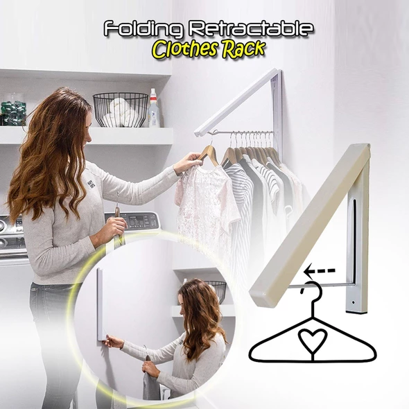 Folding Retractable Clothes Rack - Kikiboom Online Store