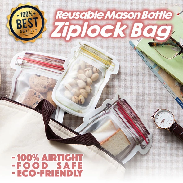 Reusable Mason Bottle Ziplock Bag (Set of 7) - Qoozan Online Store