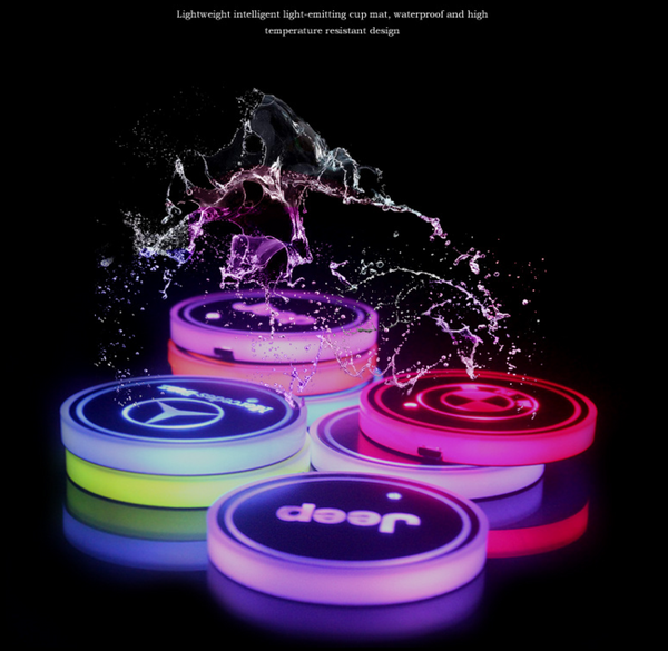 LED CAR LOGO CUP LIGHTS UP HOLDER USB CHARGING 7 COLORS CHANGING-Kikiboom online store-chearper than HUJUFY