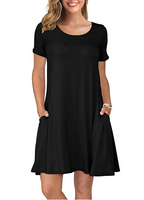 Women's Summer Casual T Shirt Dresses Short Sleeve Swing Dress with Pockets-Kikiboom online store